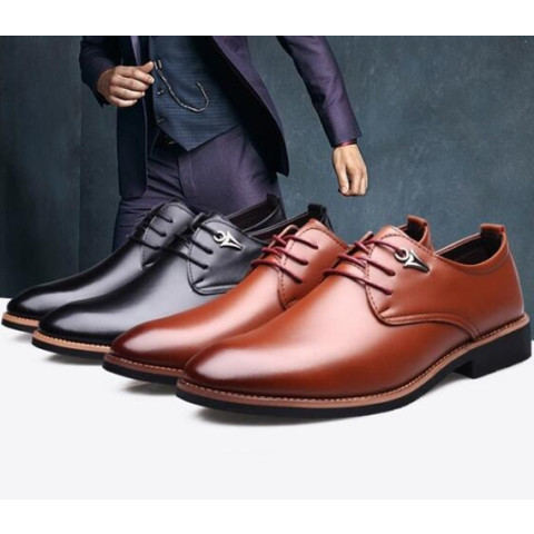 Men's Fashion Casual Pointed Toe Business Suit  Leather Shoes