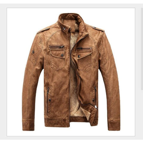 Men's Fashion Winter Autumn Warm Motorcycle PU Leather Jacket Coat