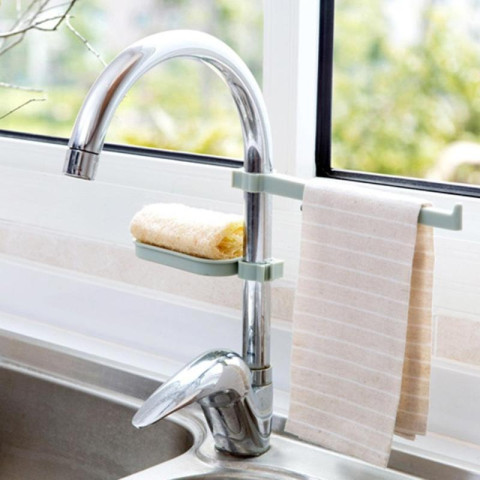Faucet Clip Dish Cloth Clip Shelf Drain Dry Towel Organizer