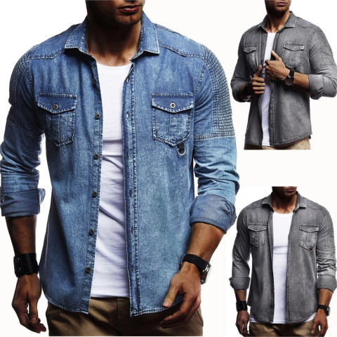 Men Washed Demin Shirts Long Sleeves Slim Fit Jean Shirts