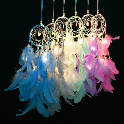Feathers Wall Hanging Decor Dream Catcher Wind Chimes  Led  String Lights