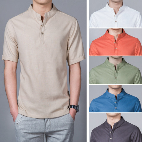 Men Casual Cotton Linen Shirt  Short Sleeve T shirt