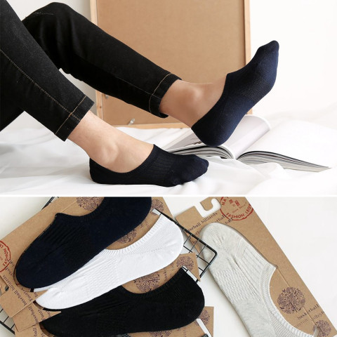 5Pair Non-Slip Invisible Low Cut Soft Breathable Cotton Socks