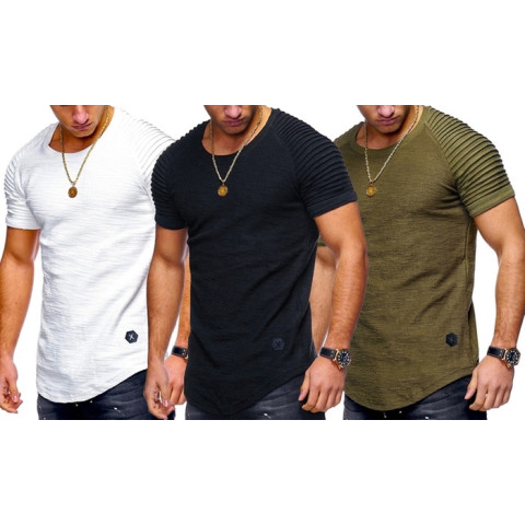 Men Round Neck Slim Striped Fold Raglan Sleeve Style T-shirt