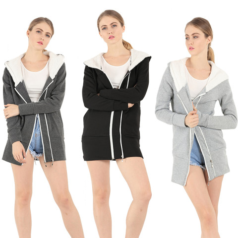 Women's Fleece Lining Zipper Hoodies Jacket