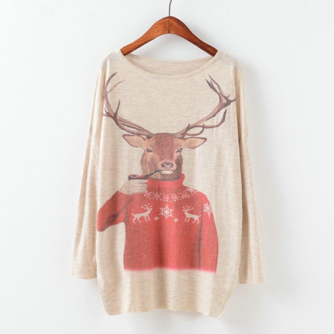 Women's Christmas Batwing Animal Printing Pullover Knit Sweater Tops