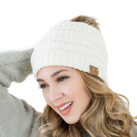 Women Winter Knitting Fur Pompons Thick Warm Hats