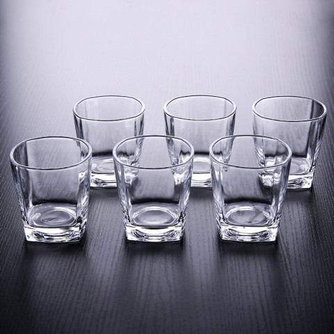 6pcs/PACK Cube Heavy Base Whiskey Glass