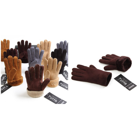 Unisex Warm Faux Suede full plush lining Glove