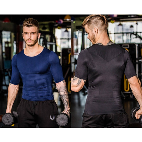 Men's posture correcting compression shirt