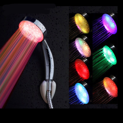 Colorful LED Shower Head 7-Color Changing Shower Head No Battery LED Waterfall Shower Head