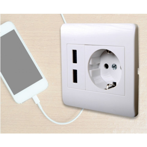 Double USB EU wall socket