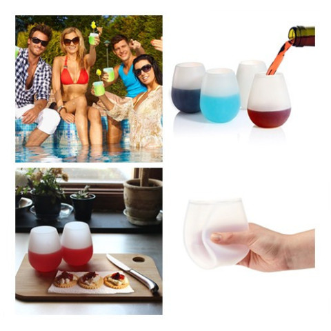 Silicone red wine glasses