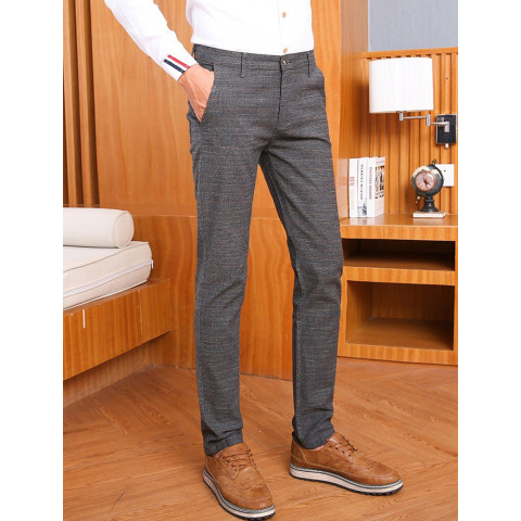 Men's Elastic Casual Pants Slim Jogger Stretch Long Trouser