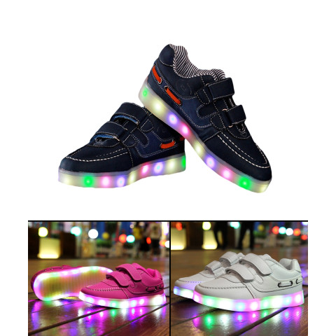 Colorful glowing kids sneakers