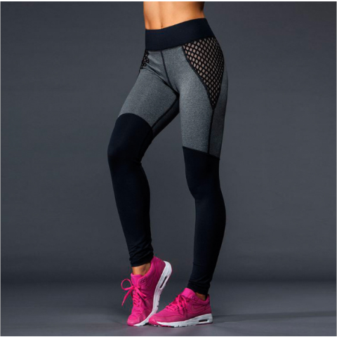 Running Girl Crisscross Side Mesh Strappy Cutout Leggings Workout Running Yoga Pants