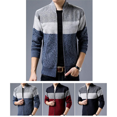 Winter Sweater Men Pattern Striped Zipper Warm Outwear Jacket