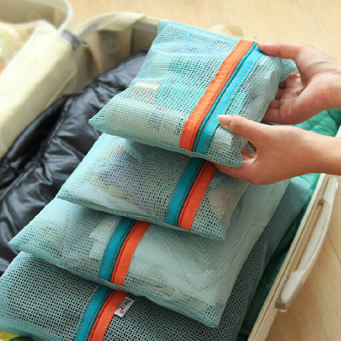 4pcs travel mesh storage bags