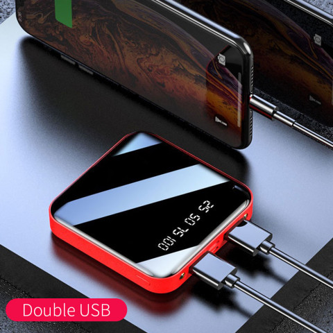 Mini Power Bank Portable Charger LED Mirror Back Power Bank