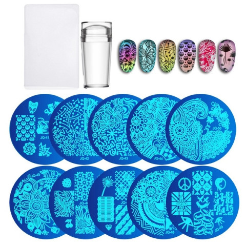 10Pcs Nail Plates + Clear Jelly Silicone Nail Art Stamper