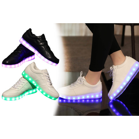 Colorful glowing sneakers