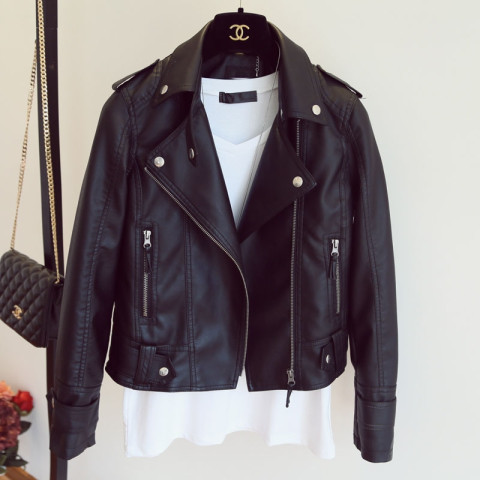 Women Spring PU Leather Jacket