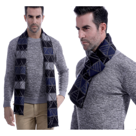 Men Business Fashion Plaid Striped  Winter Scarf