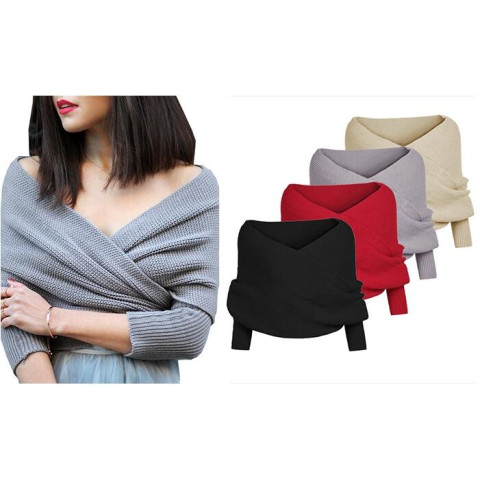 Woman Long Sleeve Jumper Knitwear Tops Cardigan Knitted Shawl