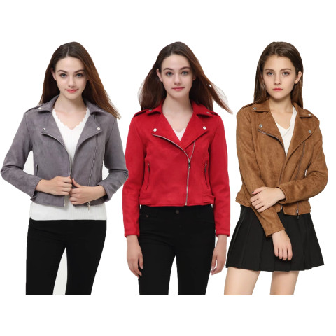 Women Suede Motorcycle Jacket