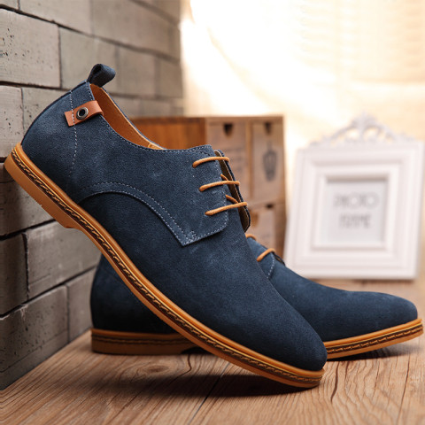 Men's Suede Leather Lace Up Oxfords Shoe For Spring Autumn and Winter Chose from Size 38-48