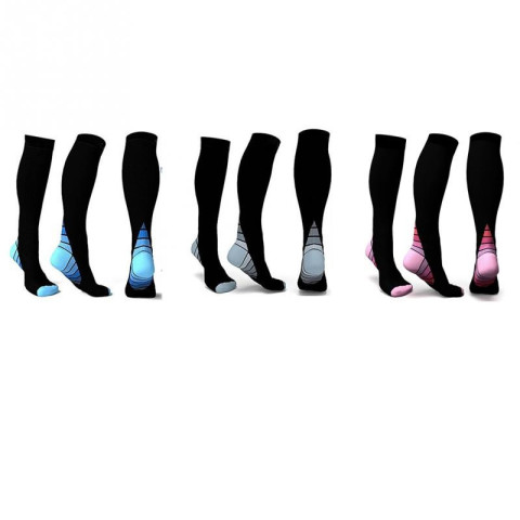 1 pair of durable support socks with compression that reduces swelling in the feet and legs. Choose between blue, gray