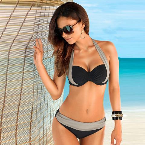 Women Sexy Cross Spell Color Bikini