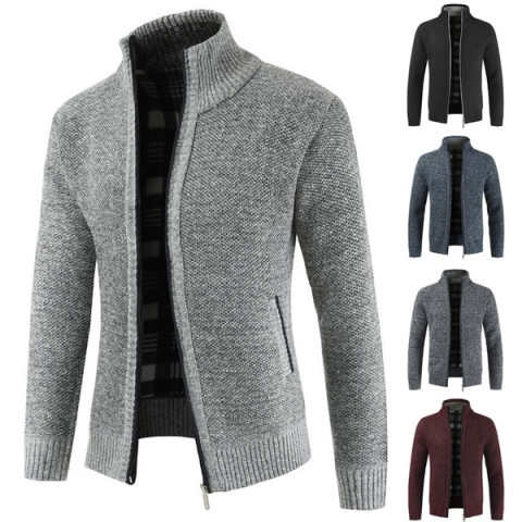 Men's simple cardigan winter sweater warm slim style