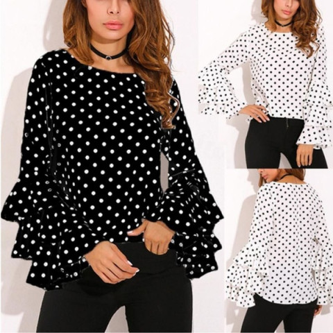 Women Long Sleeve Tops Polka Dot Loose T-Shirts