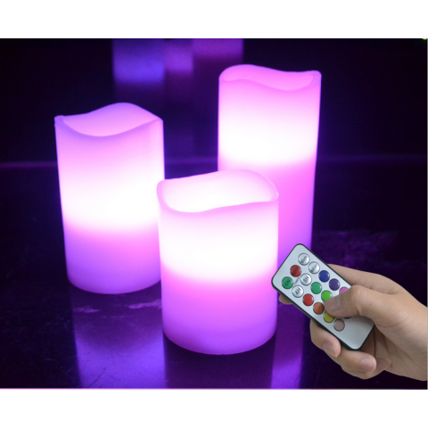 12 colors Wax remote control led candles