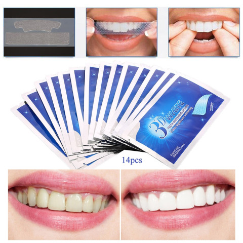 14Pcs/7Pair 3D White Gel Teeth Whitening Strips Easy process at home