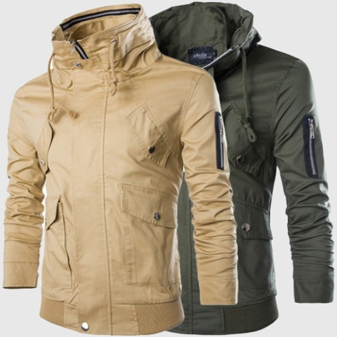 Fashion Men's Jacket Zipper Double Collar Coat