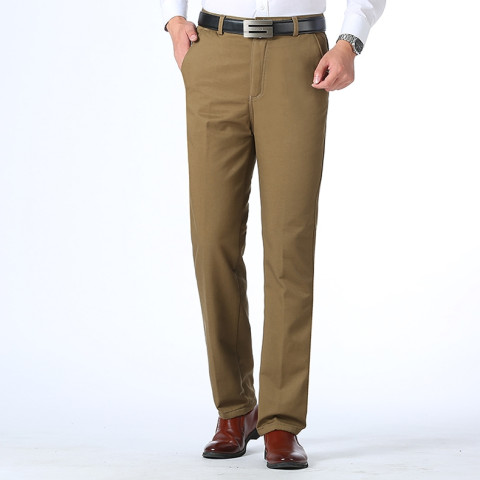Men winter Fleece Pants  Business Slim Fit Elastic Stretch pants